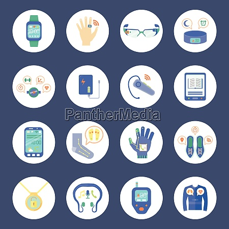 smart technology round icons set wearable