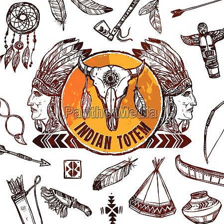 native americans background with sketch indian