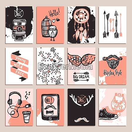 hipster paper card set with sketch