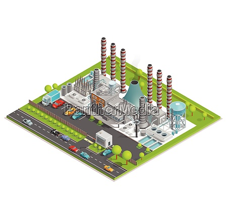 chemical plant isometric concept with factory