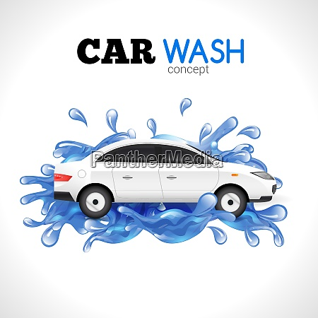 white car wash concept with blue