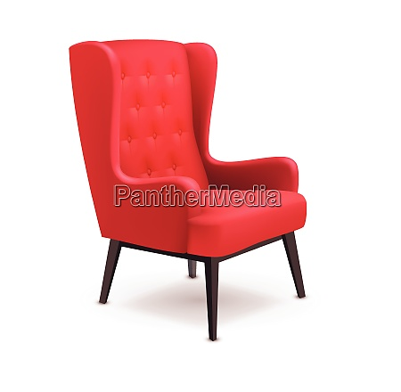 red soft wooden realistic chair icon