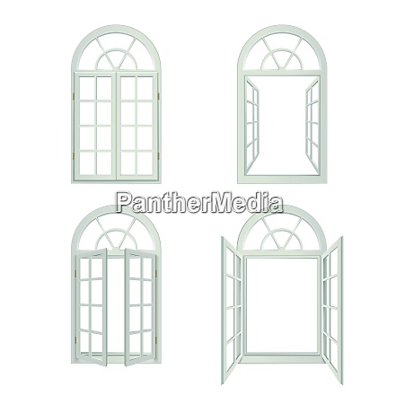 arched windows icons set arched windows