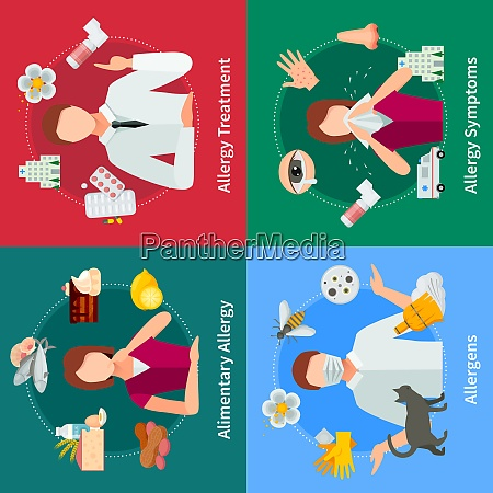 allergy and treatment concept allergy vector