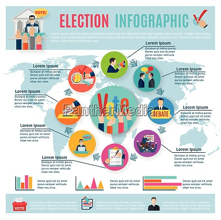 election infographics set with voting symbols