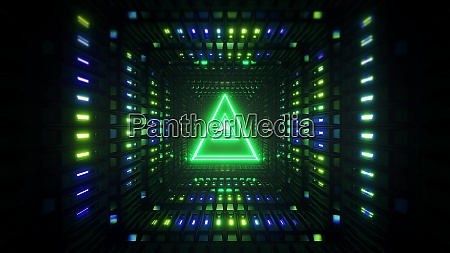 glowing wireframe triangle with metal shining