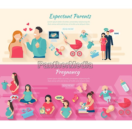 pregnancy horizontal banner set with parents