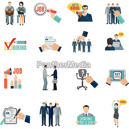 personnel hiring and recruitment flat icons
