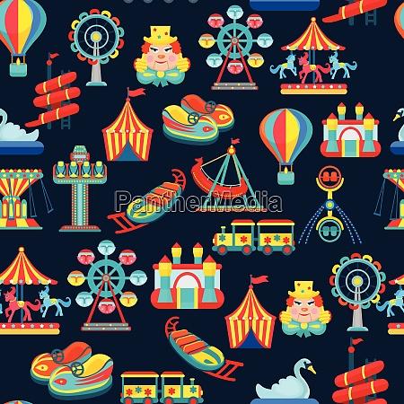 amusement park seamless pattern with children