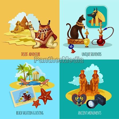egypt touristic set with cartoon desert