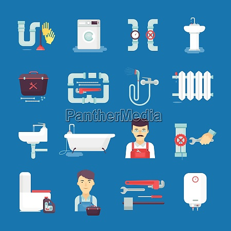 plumber flat icons collection with toilet
