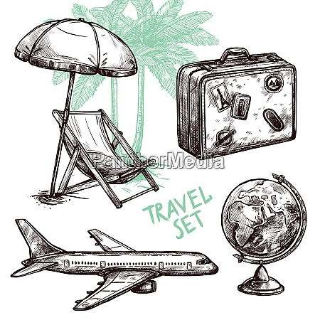 travel symbol suitcase globe plane and