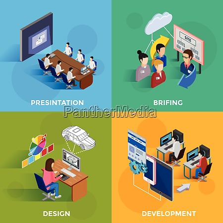 isometric development 2x2 design concept set