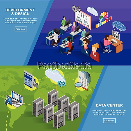 development isometric horizontal banners with structure