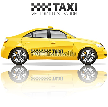 taxi poster with realistic yellow public