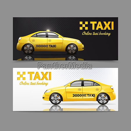 taxi service horizontal banner set with