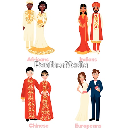 multicultural wedding couples in national clothing
