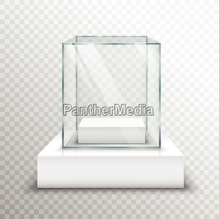realistic empty glass for exhibiting on
