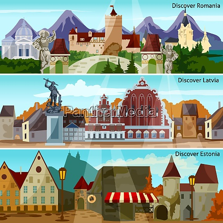 european cityscapes flat concept europe and