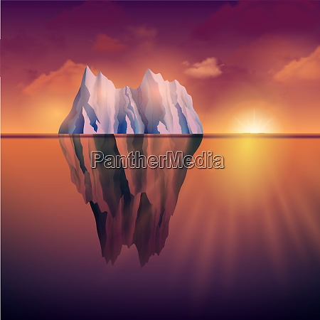 northern sea landscape with iceberg and