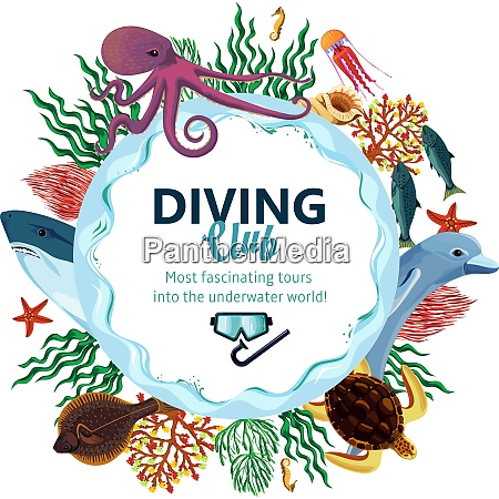 diving club advertising with round decorative