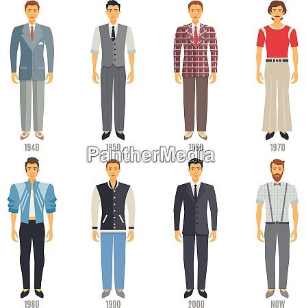men fashion icons set fashion evolution