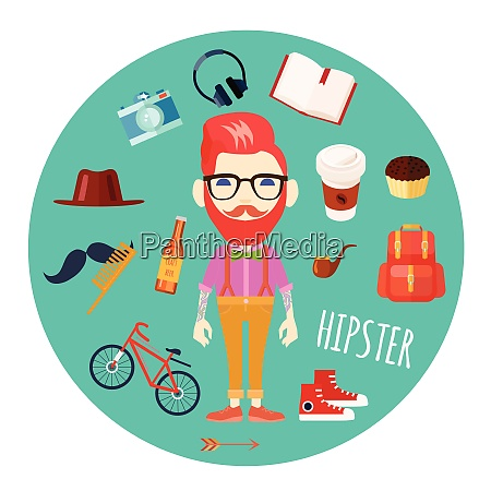 hipster character man with red hair