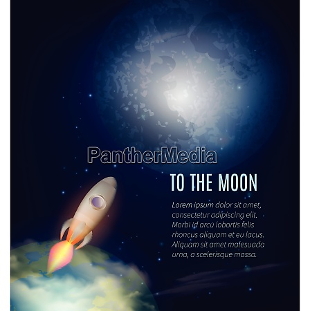 moon exploration poster with earth spaceship