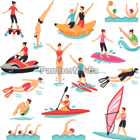 water sport icons set water sport