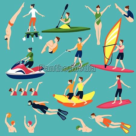 water activities icons set water sport