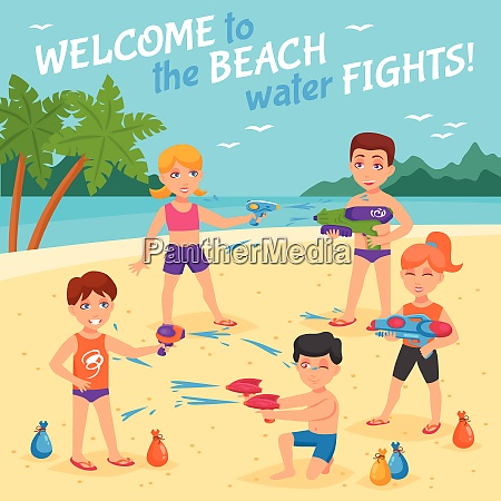 beach water fights with children and