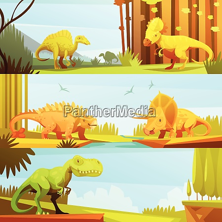 dinosaurs in prehistoric environment 3 horizontal