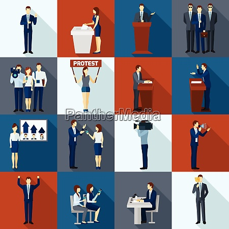 politics and government election flat icons