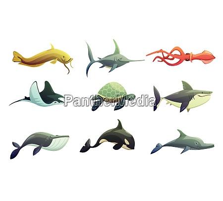 ocean underwater animals cartoon retro characters