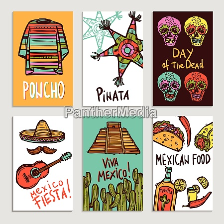 mexico poster set with hand drawn