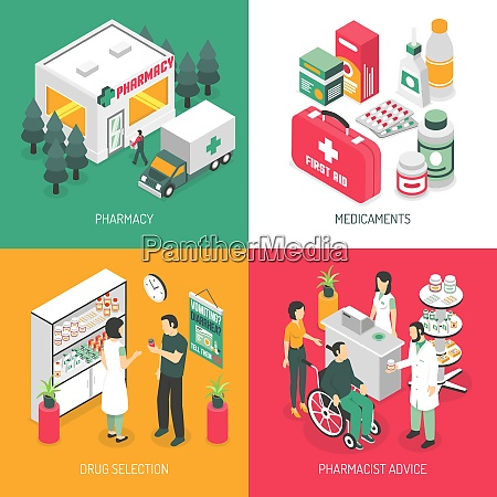 pharmacy isometric 4 icons square with