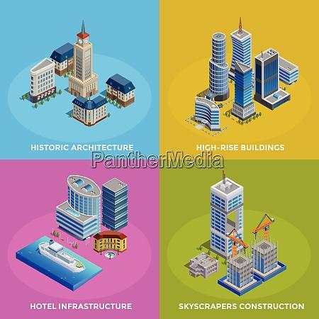 isometric city 2x2 icons set with
