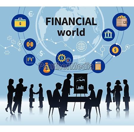 financial business world successful management concept