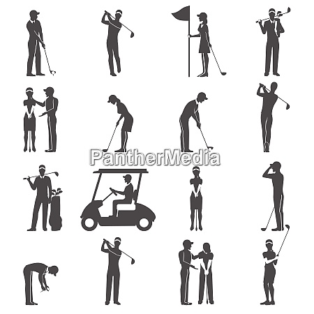 black people playing golf game silhouettes