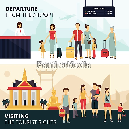 travelers departure from airport and visiting