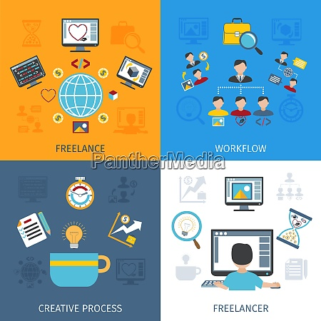 freelancer design concept set with freelancer
