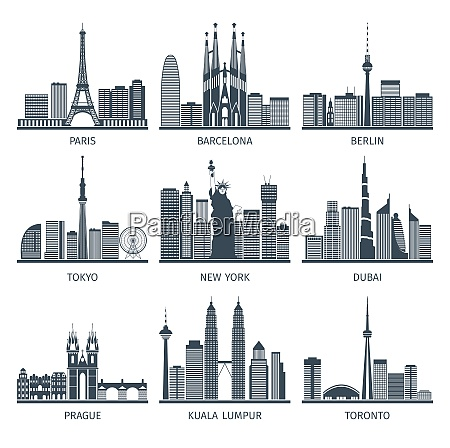 urban skylines black white icons set