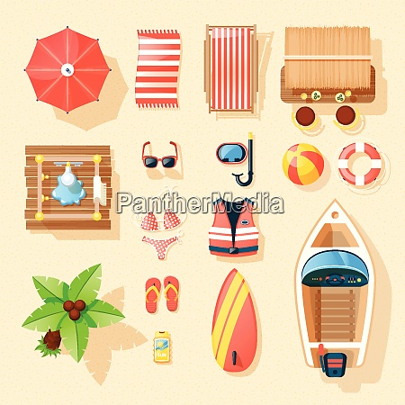 beach vacation accessories collection top view