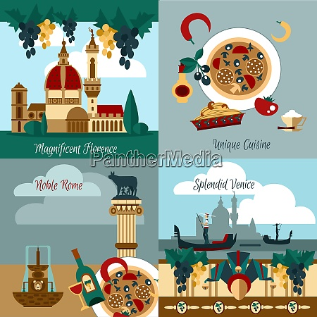 italy touristic design concept set with