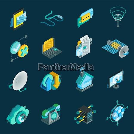 telecommunication isometric icons set with satellite