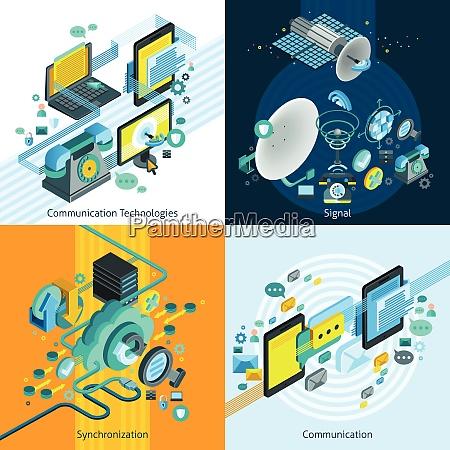 telecom network mobile isometric 2x2 design