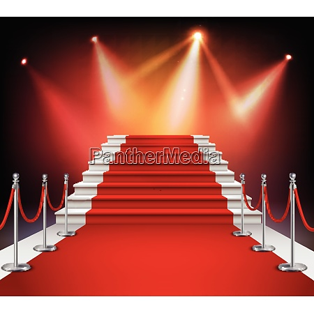 white stairs covered with red carpet