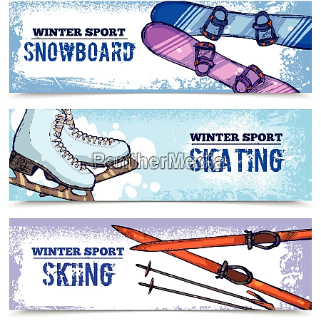 winter sport horizontal banner set with