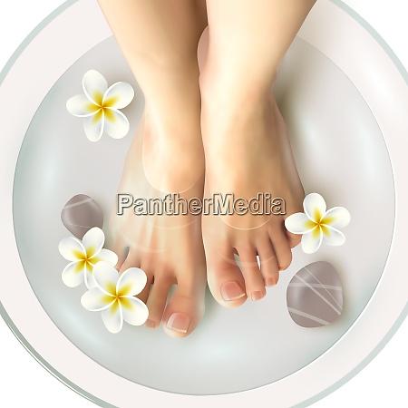 pedicure spa female feet in spa