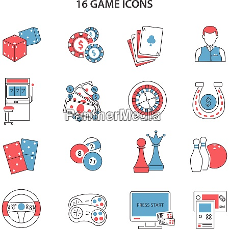 game and gambling line icons set